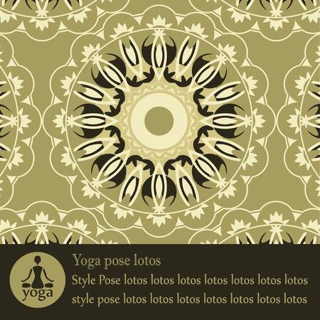 yoga mandala pattern decorative block with text Vector