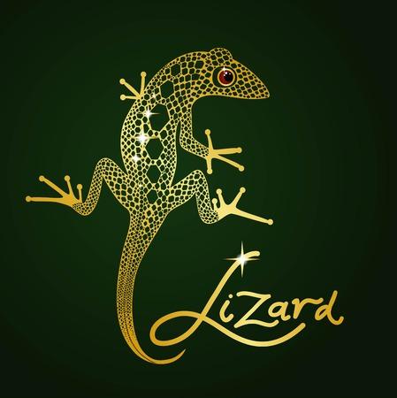 nimble: gold openwork decorative lizard on a dark green background Illustration