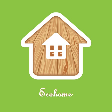 ecovillage: eco house silhouette on a green background texture wood