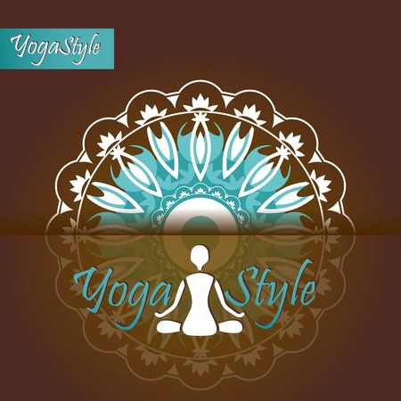 yoga emblem man in the Lotus position on the background of the mandala Vector