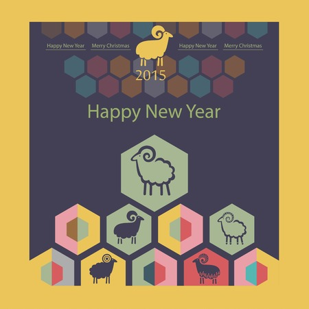 sheep on the background of hexagons infographics Vector