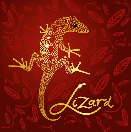 nimble: gold lace lizard on the background of Burgundy design