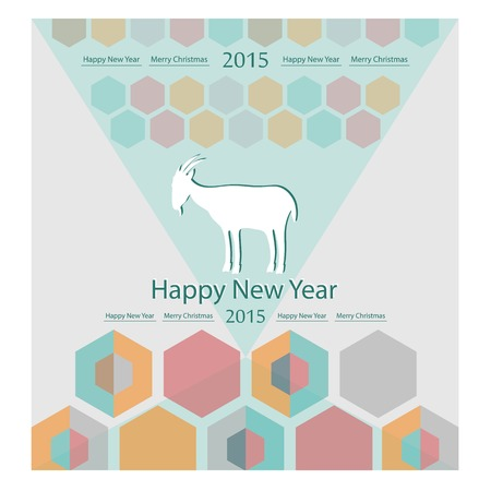 goat on the background of hexagons infographics calendar Vector