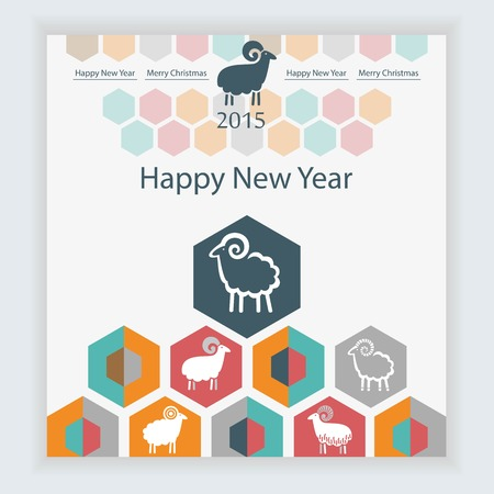 sheep on the background of hexagons infographics calendar Vector