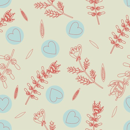 flax seed: the seamless pattern with hearts and flowers linear design