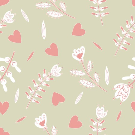 flax seed: the seamless pattern with hearts and flowers decorative Illustration