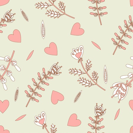 flax seed: the seamless pattern with hearts and flowers design for paper Illustration