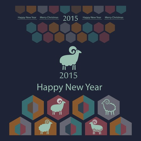 sheep decorative stylized on geometric background of hexagons Vector