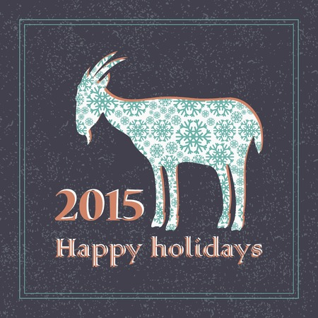 stubbornness: patterned goat from decorative snowflakes. Christmas card