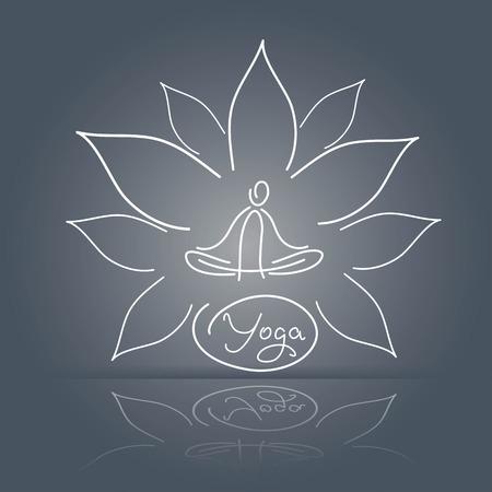 namaste: emblem yoga pose on a linear background lotus flower design