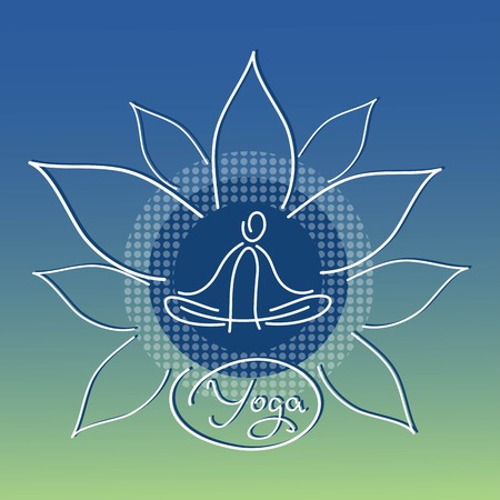 yoga icon design Lotus linear figure Vector