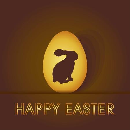 uova d oro: coniglio su uno sfondo di uova d'oro di design di scheda di Pasqua