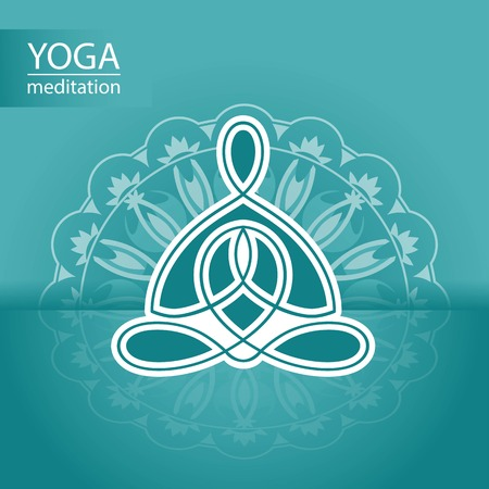 Yoga logo on the background of a decorative ornament design Vector