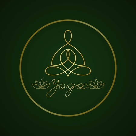 yoga lotus pose linear gold on a dark background Vector