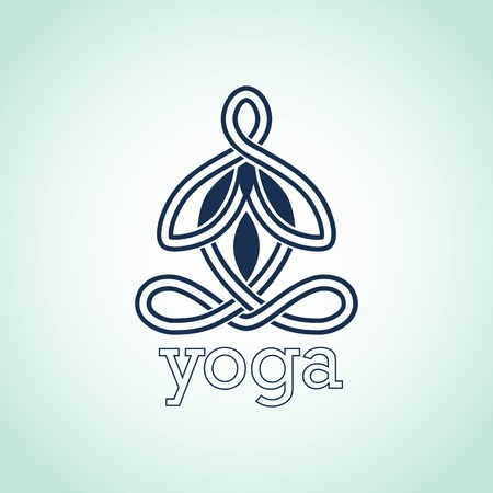 Yoga pose of lotus icon design Vector