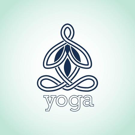 namaste: Yoga pose of lotus icon design