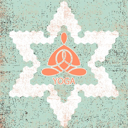 namaste: Yoga emblem in the six-pointed star in the retro style