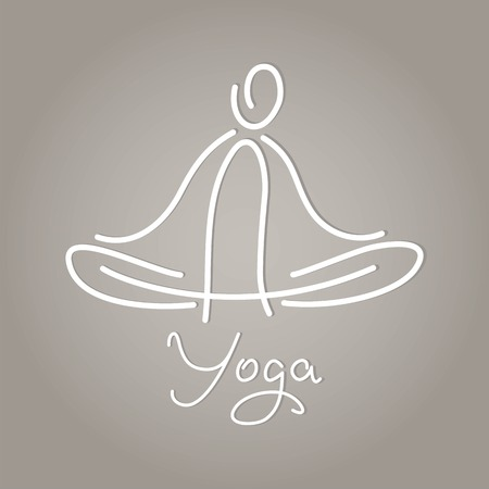 namaste: linear image symbol yoga lotus position