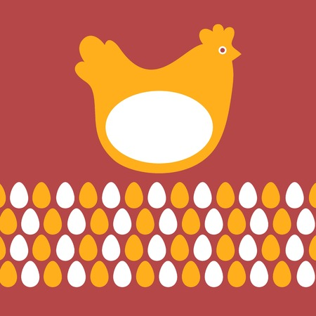 stylized design: Easter card chicken and eggs bright stylized design