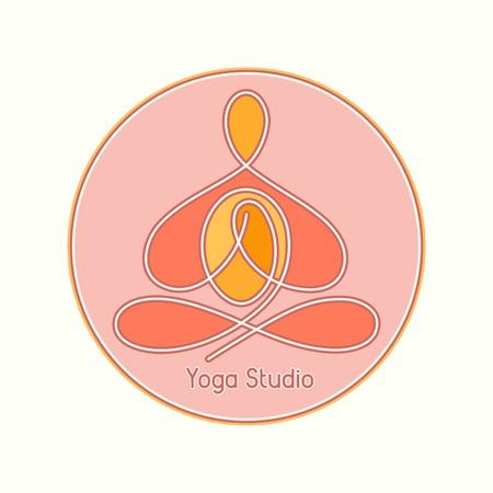represent: emblem yoga studio in the circle line design Illustration
