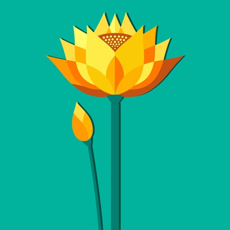 bud: flower gold lotus with a bud on a bright background