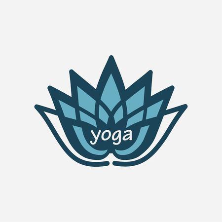 breathing exercise: stylized lotus flower emblem design for yoga Illustration