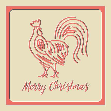 card Red Rooster straight stylized design of the new year