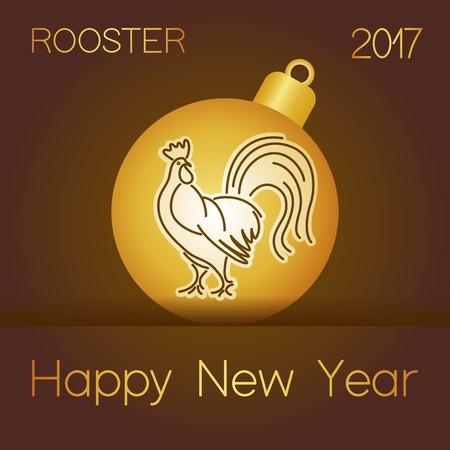 golden ball: Christmas rooster on golden ball design new year