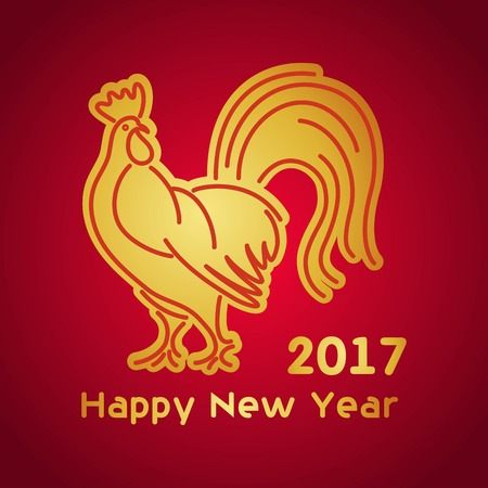 burgundy background: Christmas golden rooster on burgundy background design new year