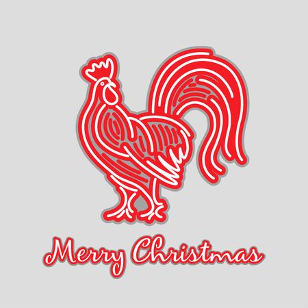 Christmas red rooster emblem linear card New Year on a gray background