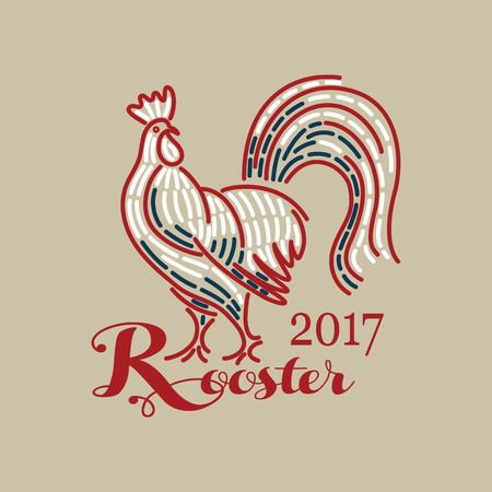Rooster Christmas Happy New Year card design line Illustration