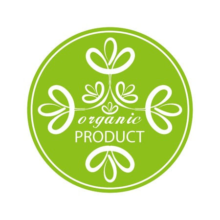 emblem of the green eco-organic product in the circle design