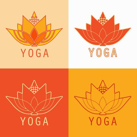 set for lotus yoga studio on different backgrounds design Ilustrace