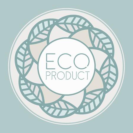 product range: eco product range of decorative emblem leaves design Illustration