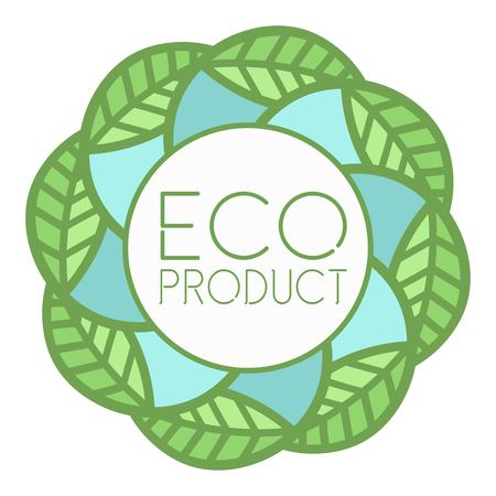emblem of eco-natural product in a circle on a light background of leaves Illustration