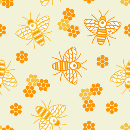 Pattern seamless background of bees and honeycombs Ilustrace