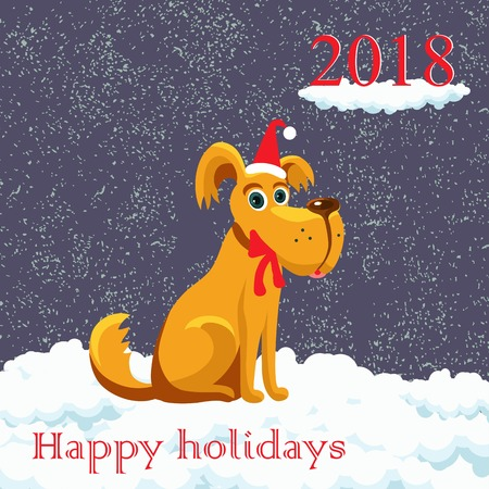 christmas dog congratulation christmas on snow in a red cap design greeting card