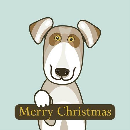 dog smile postcard christmas wishes happy christmas card design