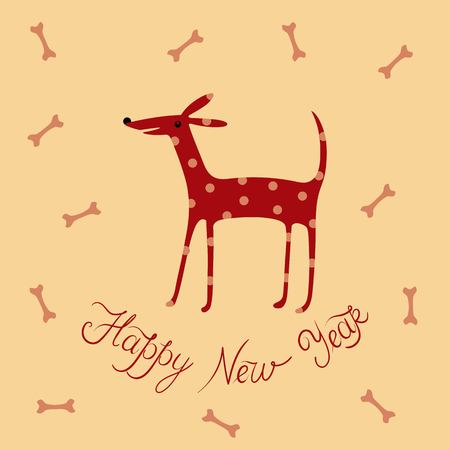 New year Christmas design happy dog polka dot vector illustration postcard