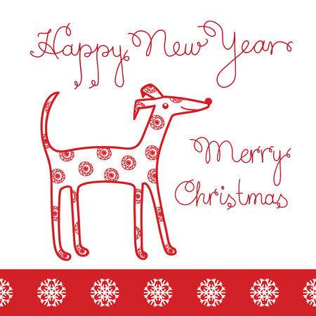 The year of the dog. New year. Greeting card. Christmas vector. Design red picture of a dog on  white background