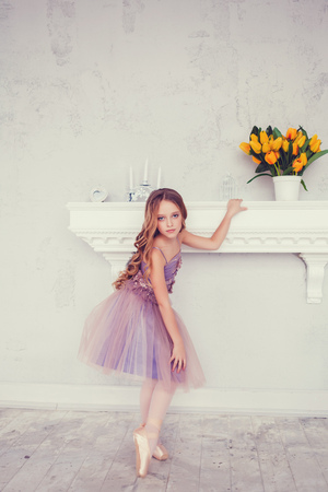 Little ballerina girl in a tutu. Adorable child dancing classical ballet in a studio.