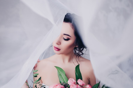 Closeup portrait of young gorgeous bride with veil Stock Photo