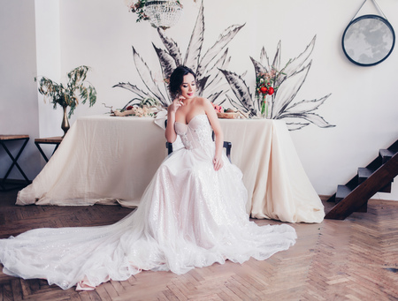 Beauty portrait of bride wearing fashion wedding dress luxury make-up and hairstyle, studio indoor photo.