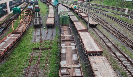 View of the rails and freight trains. Railway station