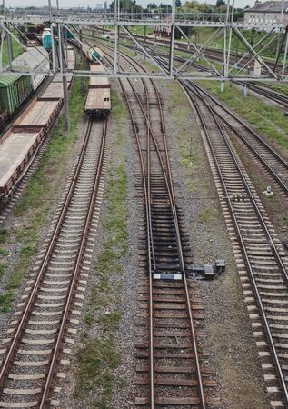View of the rails with freight trains.  Railway 版權商用圖片