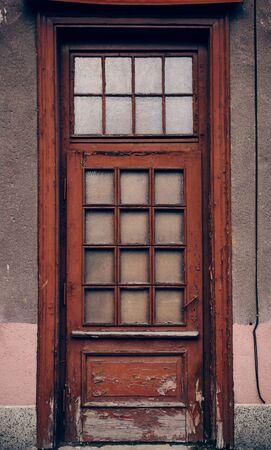 old red wooden door. Gdansk, Poland