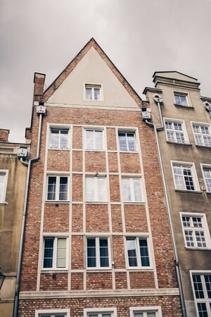 old brick buildings with windows. Gdansk, Poland