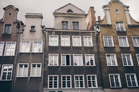 old building with beautiful roofs in Gdansk, Poland Stock Photo