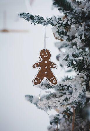 Christmas food. Gingerbread man cookies on the Christmas tree