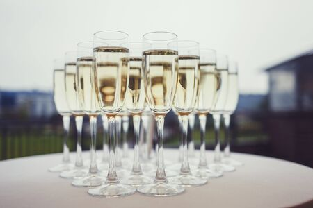 glasses of wine at a wedding. alcohol
